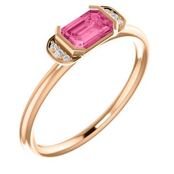 14k Rose Gold Stuller Diamond and Pink Tourmaline Stackable Ring
