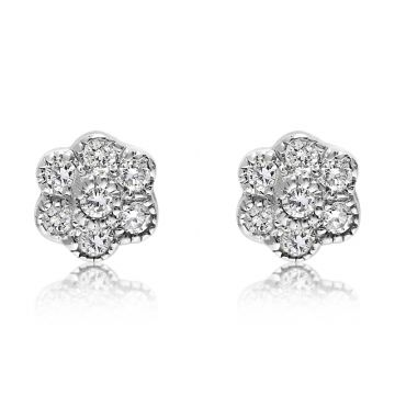 NEI Group 14k Gold Fluted Bezel Cluster Flower Studs