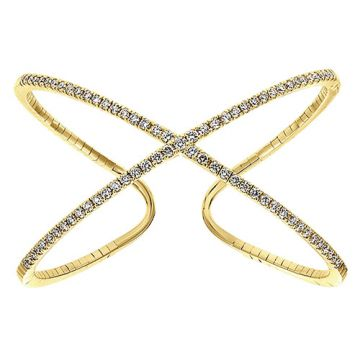 14k Yellow Gold Diamond Criss Cross Bangle Bracelet