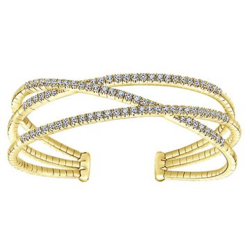 14k Yellow Gold Diamond 3 Row Criss Cross Bangle Bracelet