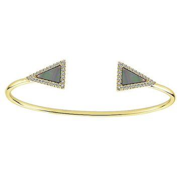 14k Yellow Gold Mother of Pearl and Diamond Bangle Bracelet