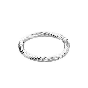"Stuller Sterling Silver Hinged Bangle 7"" Bracelet"