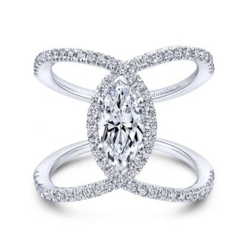Gabriel & Co. 14k White Gold Nova Halo Engagement Ring