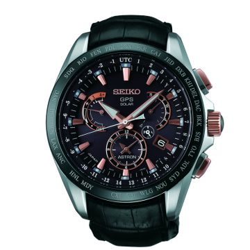 Grand Seiko Mens Astron GPS Solar Titanium case black crocodile leather strap