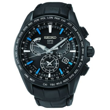Grand Seiko Mens Astron GPS Solar Dual Time black Titanium case leather strap