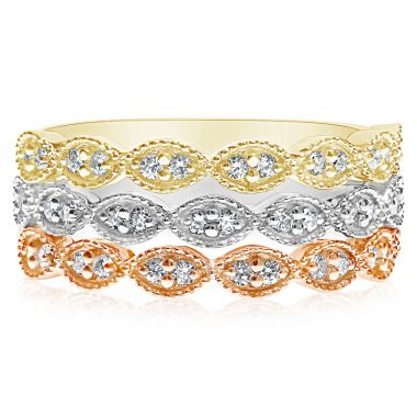 NEI Group 14k Gold Marquise Shaped Milgrain Band