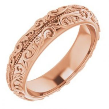 14K Rose 5 mm Scroll Band with Milgrain Size 7