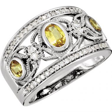 Stuller 14k White Gold Yellow Sapphire and Diamond Wedding Band