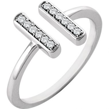 Stuller 14k White Gold Diamond Vertical Bar Ring