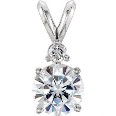 Stuller 14k White Gold Forever One Moissanite & Diamond Accented Pendant