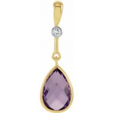 14K Yellow Amethyst & .015 Diamond Pendant