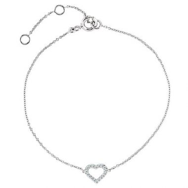 Stuller 14k White Gold Diamond Heart Bracelet