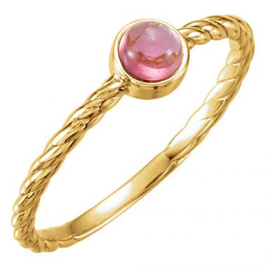 14k Yellow Gold Stuller Pink Tourmaline Rope Stackable Ring