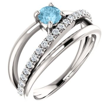 Stuller 14k White Gold Aquamarine Diamond Ring