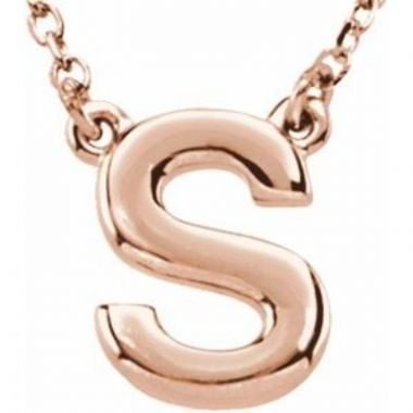 "14K Rose Block Initial S 16"" Necklace"