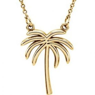 "14K Yellow Palm Tree 16 1/2"" Necklace"