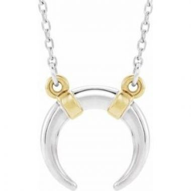 "14K White/Yellow Crescent 18"" Necklace"