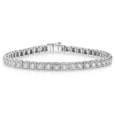 NEI Group 14k White Gold 2.50 Carat Illusion Set Tennis Bracelet