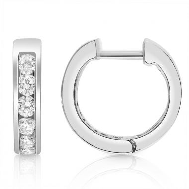 NEI Group 14k White Gold 0.50 Carat Channel Hoops