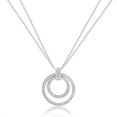 NEI Group 14k White Gold Pendant with Doubled Cable Chain