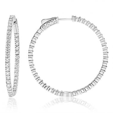 NEI Group 14k White Gold 2.50 Carat Diamond Hoops