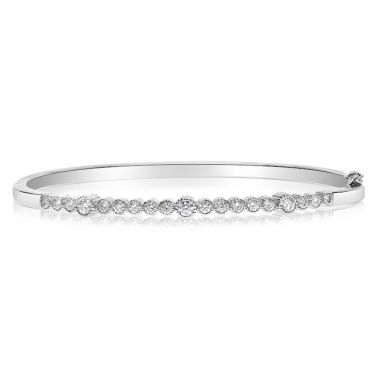 NEI Group 14k Gold Rippled Fluted Bezel Bangle