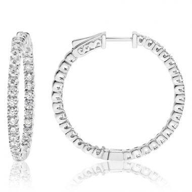NEI Group 14k White Gold 3.00 Diamond Hoops