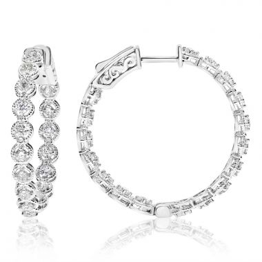NEI Group 14k White Gold Circle Rope -Framed Diamond Hoops