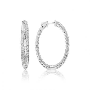 NEI Group 14k White Gold 5 Carat Diamond Pave Hoops