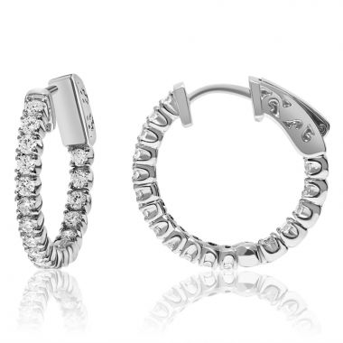 NEI Group 14k White Gold 1.00 Carat DIamond Hoops
