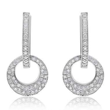 NEI Group 14k White Gold Disco Drop Earrings