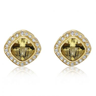 NEI Group 14k Yellow Gold Cushion Citrine Earrings
