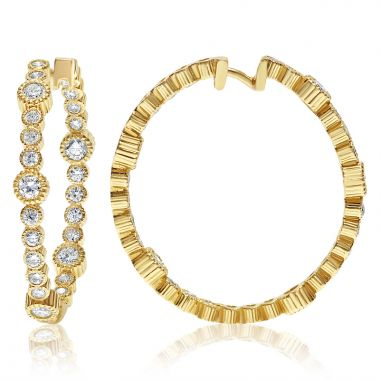 NEI Group 14k Gold 1.5 Carat Rippled Fluted Bezel Hoops