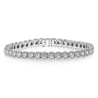 NEI Group 14k White Gold 5.00 Carat Halo Tennis Bracelet