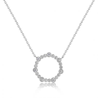 NEI Group 14k Gold Half Carat Rippled Fluted Bezel Heptagon Necklace