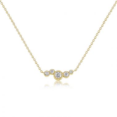NEI Group 14k Gold Floating Fluted Bezel Stationary Pendant Chain