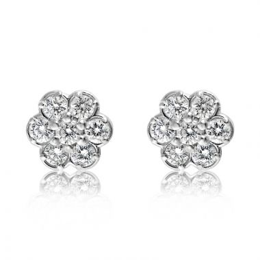NEI Group 14k Gold 0.50 Carat Bezeled Flower Cluster Studs