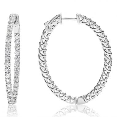 NEI Group 14k White Gold 3.30 Carat Lucida Style Diamond Hoops