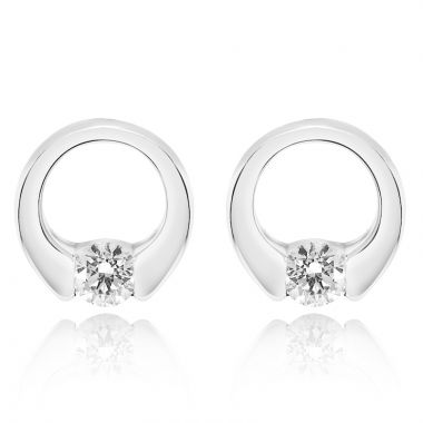 NEI Group 14k White Gold Diamond Circuit Studs
