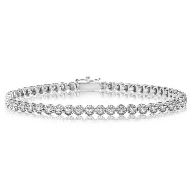 NEI Group 14k White Gold Illusion Halo Bracelet