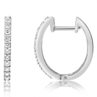 NEI Group 14k White Gold 0.33 Carat Hoops - Front Only
