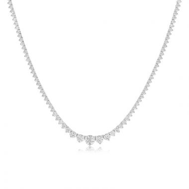 NEI Group 14k White Gold 3 Prong Graduated Diamond Tennis Necklace