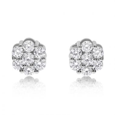 NEI Group 14k Gold Cluster Stud Earrings
