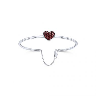 Gabriel & Co. Sterling Silver Heart Shaped Diamond with Lobster Claw Closing Bangle Bracelet