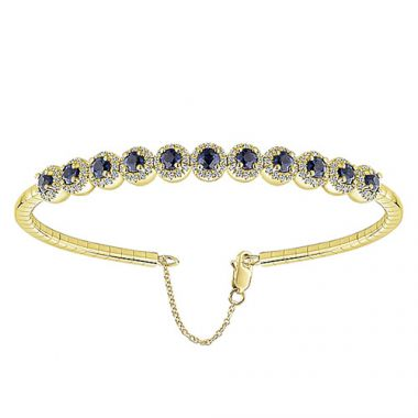 14k Yellow Gold Sapphire and Diamond Bangle Bracelet