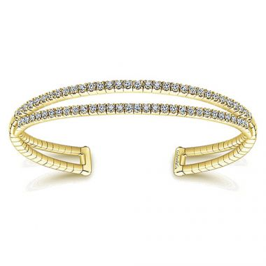 14k Yellow Gold Diamond 2 Row Bangle Bracelet