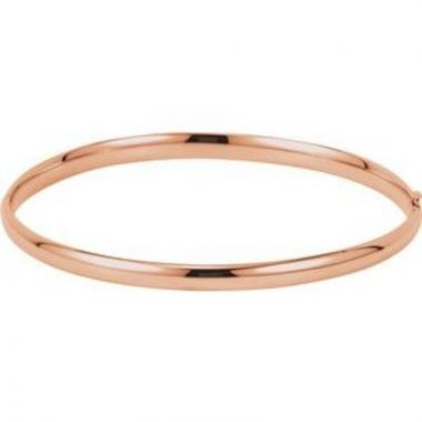 14K Rose 4 mm Hinged Bangle Bracelet