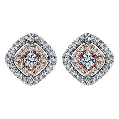 14k White and Rose Gold Diamond Fashion Earrings