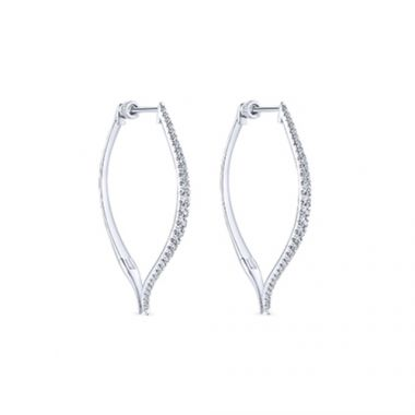 14k White Gold Classic Diamond Hoop Earrings