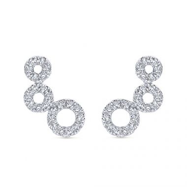 14k White Gold Diamond Comets Sud Earrings
